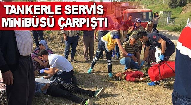 Tanker öğrenci servisine çarptı 16 yaralı
