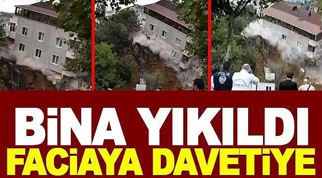 İstanbul'da tahliyenin ardından 4 katlı bina çöktü