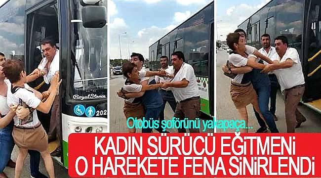 Kadın sürücü eğitmeni ile otobüs sürücüsü kavga etti