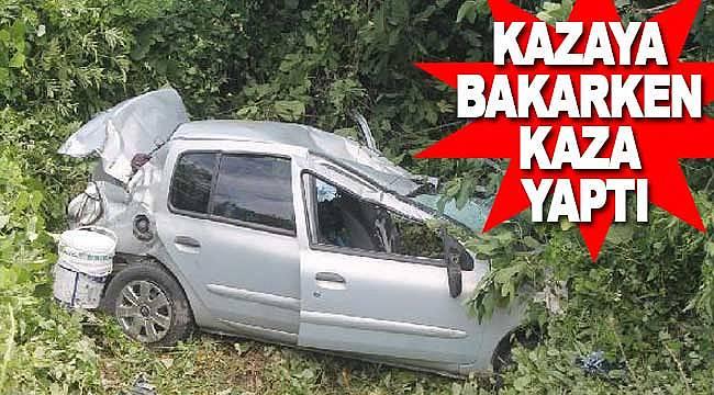 Kazaya barken kaza yaptı 4 yaralı