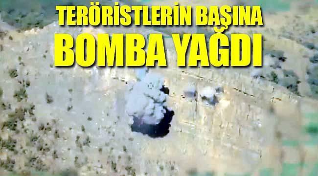 Teröristlerin başına bomba yağdı